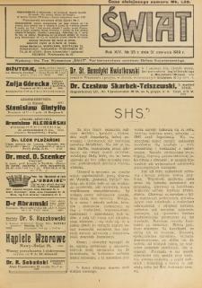 Świat : pismo tygodniowe ilustrowane poświęcone życiu społecznemu, literaturze i sztuce. R. 14 (1919), nr 25 (21 czerwca)