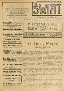 Świat : pismo tygodniowe ilustrowane poświęcone życiu społecznemu, literaturze i sztuce. R. 14 (1919), nr 27 (5 lipca)