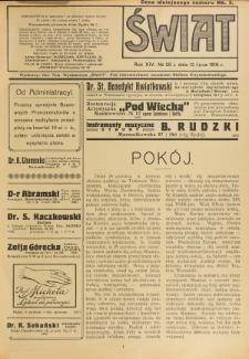 Świat : pismo tygodniowe ilustrowane poświęcone życiu społecznemu, literaturze i sztuce. R. 14 (1919), nr 28 (12 lipca)