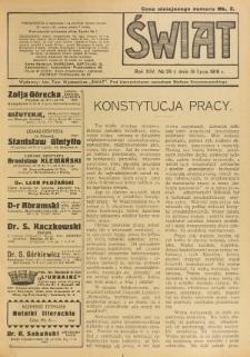 Świat : pismo tygodniowe ilustrowane poświęcone życiu społecznemu, literaturze i sztuce. R. 14 (1919), nr 29 (19 lipca)
