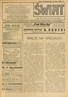 Świat : pismo tygodniowe ilustrowane poświęcone życiu społecznemu, literaturze i sztuce. R. 14 (1919), nr 30 (26 lipca)