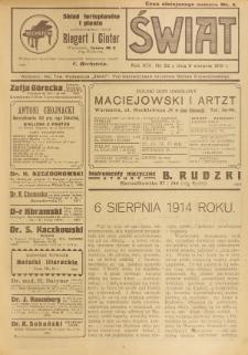 Świat : pismo tygodniowe ilustrowane poświęcone życiu społecznemu, literaturze i sztuce. R. 14 (1919), nr 32 (9 sierpnia)