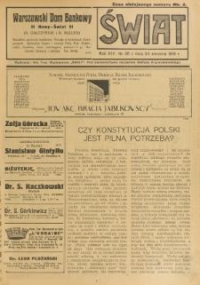 Świat : pismo tygodniowe ilustrowane poświęcone życiu społecznemu, literaturze i sztuce. R. 14 (1919), nr 35 (30 sierpnia)