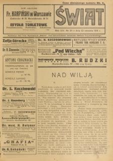 Świat : pismo tygodniowe ilustrowane poświęcone życiu społecznemu, literaturze i sztuce. R. 14 (1919), nr 34 (23 sierpnia)
