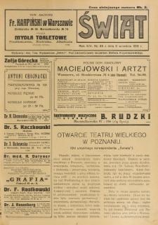 Świat : pismo tygodniowe ilustrowane poświęcone życiu społecznemu, literaturze i sztuce. R. 14 (1919), nr 36 (6 września)