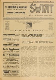 Świat : pismo tygodniowe ilustrowane poświęcone życiu społecznemu, literaturze i sztuce. R. 14 (1919)