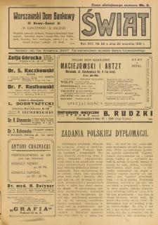 Świat : pismo tygodniowe ilustrowane poświęcone życiu społecznemu, literaturze i sztuce. R. 14 (1919), nr 38 (20 września)