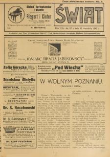 Świat : pismo tygodniowe ilustrowane poświęcone życiu społecznemu, literaturze i sztuce. R. 14 (1919), nr 37 (13 września)