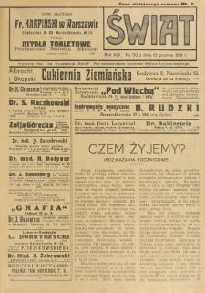 Świat : pismo tygodniowe ilustrowane poświęcone życiu społecznemu, literaturze i sztuce. R. 14 (1919), nr 50 (13 grudnia)