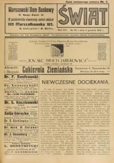 Świat : pismo tygodniowe ilustrowane poświęcone życiu społecznemu, literaturze i sztuce. R. 14 (1919), nr 49 (6 grudnia)
