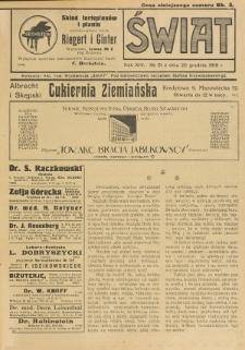 Świat : pismo tygodniowe ilustrowane poświęcone życiu społecznemu, literaturze i sztuce. R. 14 (1919), nr 51 (20 grudnia)