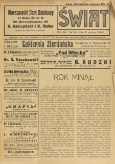 Świat : pismo tygodniowe ilustrowane poświęcone życiu społecznemu, literaturze i sztuce. R. 14 (1919), nr 52 (27 grudnia)