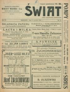 Świat : pismo tygodniowe ilustrowane poświęcone życiu społecznemu, literaturze i sztuce. R. 15, nr 37 (11 września 1920)