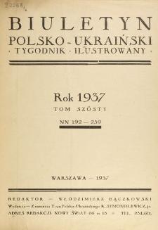 Biuletyn Polsko-Ukraiński. T. 6 (1937), Spis rzeczy w tomie VI zawartych.