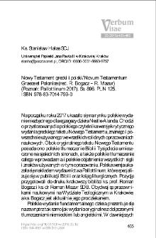 Recenzja : Roman Bogacz – Roman Mazur, Nowy Testament grecki i polski / Novum Testamentum Graece et Polonice (Poznań: Pallottinum 2017).