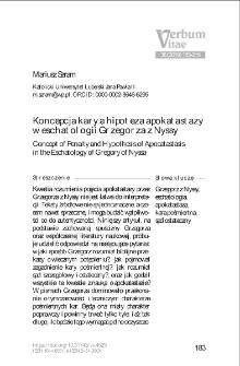Koncepcja kary a hipoteza apokatastazy w eschatologii Grzegorza z Nyssy.