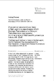 Znaczenie rzeczownika κόλασις w Septuagincie, pseudoepigrafach Starego Testamentu i w Nowym Testamencie w nawiązaniu do interpretacji Wacława Hryniewicza tekstu Mt 25,46.
