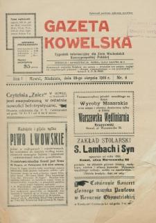 Gazeta Kowelska : tygodnik informacyjny dla Ziem Wschodnich Rzeczypospolitej Polskiej. R. 1, no 6 (1925)
