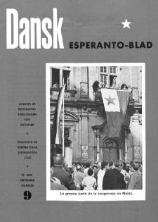 Dansk Esperanto Blad : engivet af Esperantistforeningen for Denmark : eldonala de Centra dana Esperantista Ligo. Arg 30, nr 9 (1958)