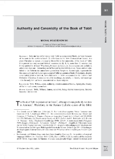 Authority and Canonicity of the Book of Tobit.