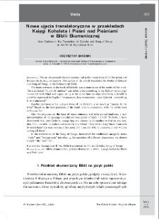 Nowe ujęcia translatoryczne w przekładach Księgi Koheleta i Pieśni nad Pieśniami w Biblii Ekumenicznej.