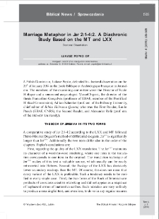 Marriage Metaphor in Jer 2:1-4:2. A Diachronic Study Based on the MT and LXX.
