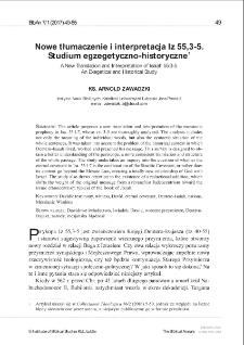 Nowe tłumaczenie i interpretacja Iz 55,3-5. Studium egzegetyczno-historyczne.