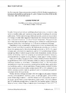 Recenzja : Piotr Jaworski, Tożsamość proroka w świetle Jr 23,9-40. Studium egzegetyczno-teologiczne (Studia Biblica Lublinensia 15; Lublin: Wydawnictwo KUL 2016) .