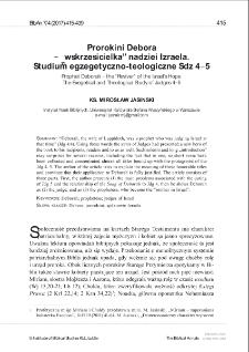 """Prorokini Debora – """"wskrzesicielka"""" nadziei Izraela.Studium egzegetyczno-teologiczne Sdz 4–5."""