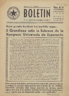 Boletín de la Federación Esperantista Española. Anno 2, n. 8/9 (1950)