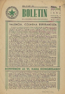 Boletín de la Federación Esperantista Española. Anno 4, n. 7 (1952)