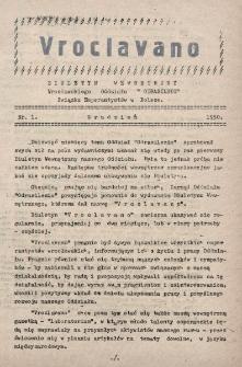 """Vroclavano : biuletyn wewnetrzny Wrocławskiego Oddziału """"Odrasilezio"""" Związku Eserantystów w Polsce. Nr 1 (1950)"""