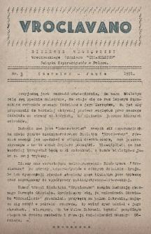 """Vroclavano : biuletyn wewnetrzny Wrocławskiego Oddziału """"Odrasilezio"""" Związku Eserantystów w Polsce. Nr 3 (1951)"""