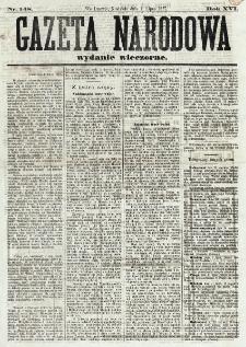 Gazeta Narodowa. R. 16, nr 148 (1 lipca 1877), wydanie wieczorne