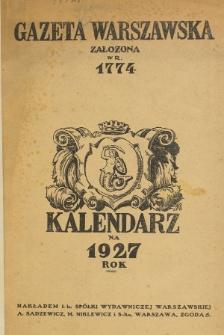 Kalendarz na Rok 1927
