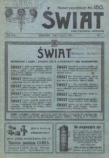 Świat : pismo tygodniowe ilustrowane poświęcone życiu społecznemu, literaturze i sztuce. R. 17 (1922), nr 1 (7 stycznia 1922)