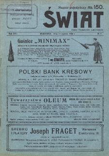Świat : pismo tygodniowe ilustrowane poświęcone życiu społecznemu, literaturze i sztuce. R. 17 (1922), nr 2 (14 stycznia)