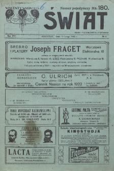 Świat : pismo tygodniowe ilustrowane poświęcone życiu społecznemu, literaturze i sztuce. R. 17 (1922), nr 6 (11 lutego)