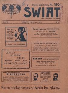 Świat : pismo tygodniowe ilustrowane poświęcone życiu społecznemu, literaturze i sztuce. R. 17 (1922), nr 12 (25 marca)