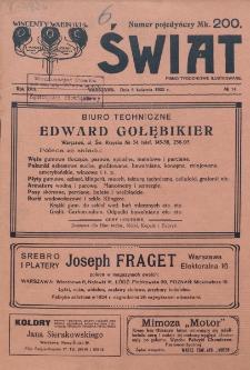 Świat : pismo tygodniowe ilustrowane poświęcone życiu społecznemu, literaturze i sztuce. R. 17 (1922), nr 14 (8 kwietnia)