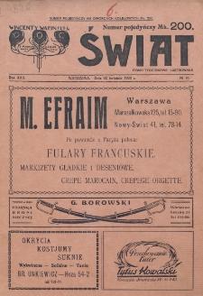 Świat : pismo tygodniowe ilustrowane poświęcone życiu społecznemu, literaturze i sztuce. R. 17 (1922), nr 16 (22 kwietnia)