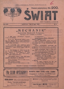 Świat : pismo tygodniowe ilustrowane poświęcone życiu społecznemu, literaturze i sztuce. R. 17 (1922), nr 20 (20 maja)