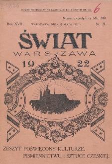 Świat : pismo tygodniowe ilustrowane poświęcone życiu społecznemu, literaturze i sztuce. R. 17 (1922), nr 21 (27 maja)