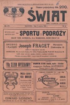 Świat : pismo tygodniowe ilustrowane poświęcone życiu społecznemu, literaturze i sztuce. R. 17 (1922), nr 22 (3 czerwca)