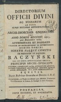 Elenchus Cleri Archidioecesis Gnesnensis 1815