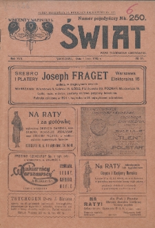 Świat : pismo tygodniowe ilustrowane poświęcone życiu społecznemu, literaturze i sztuce. R. 17 (1922), nr 26 (1 lipca)