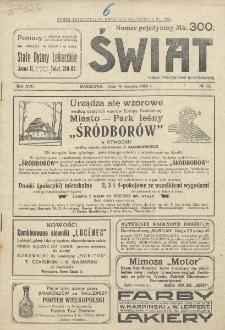 Świat : pismo tygodniowe ilustrowane poświęcone życiu społecznemu, literaturze i sztuce. R. 17 (1922), nr 33 (19 sierpnia)