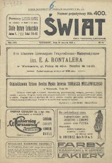 Świat : pismo tygodniowe ilustrowane poświęcone życiu społecznemu, literaturze i sztuce. R. 17 (1922), nr 34 (26 sierpnia)