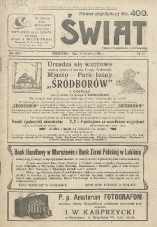 Świat : pismo tygodniowe ilustrowane poświęcone życiu społecznemu, literaturze i sztuce. R. 17 (1922), nr 37 (16 września)