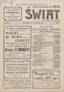 Świat : pismo tygodniowe ilustrowane poświęcone życiu społecznemu, literaturze i sztuce. R. 17 (1922), nr 45 (11 listopada)